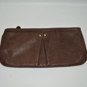 Martin + Osa Brown Genuine Leather Large Clutch
